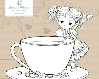 PNG Digital Stamp - Coffee Sprite - Aurora Wings - Coffee Fairy Holding a Spoon - Fantasy Line Art for Arts and Crafts by Mitzi Sato-Wiuff