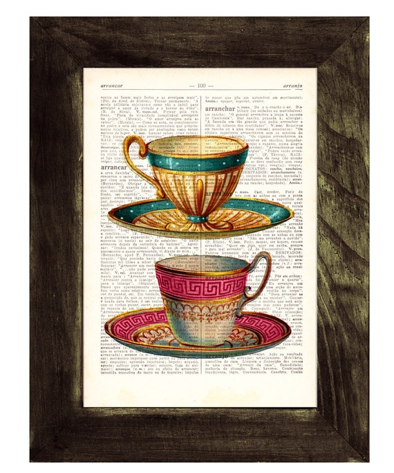 Teacups Upcycled Dictionary Page Two Teacups print on dictionary book wall art book print BPTV073