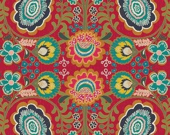 INDIE FOLK Art Gallery Fabrics, Khokhloma Burgundia, Pat Bravo, Boho Decor, Quilt Fabric, Cotton Fabric, Red Floral, Fabric By the Yard