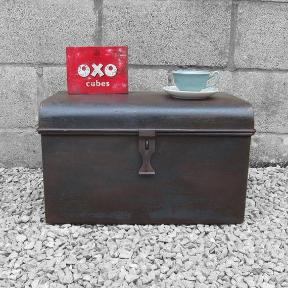 Small Metal Tin Trunk Chest Industrial Box 1920s