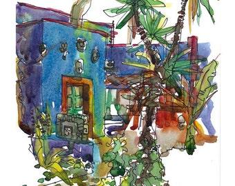Frida Kahlo Art Blue House Mexico gift for traveller - 8x10 fine art print of an original watercolor sketch
