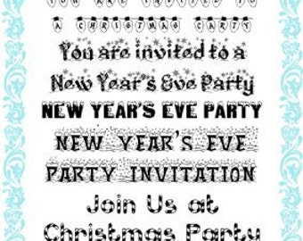 """New Year Party Invitations // Clear stamps pack (4""""x7"""") FLONZ"""
