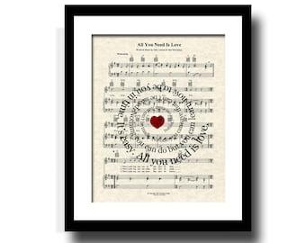 All You Need Is Love Song Lyric Sheet Music Art Print, Custom Art, Custom Wedding Gift, Custom Anniversary Gift, Name & Date, Love Song