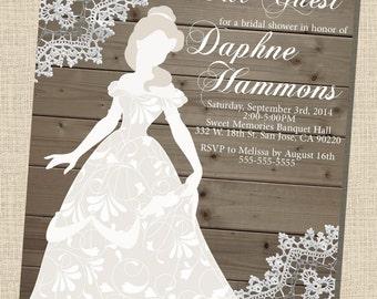 Rustic, wooden, vintage Disney Princess (Belle) Silhouette Bridal Shower Invitation (5x7) - DIGITAL FILE