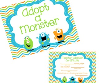 Adopt a Monster certificate and sign