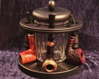 Beautiful Antique 10 Pipe Stand And Crystal Humidor