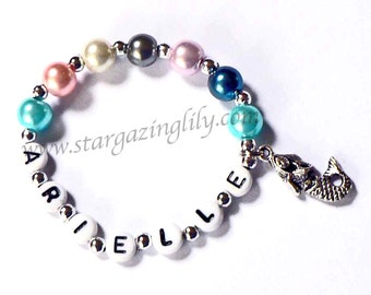 Little Pearl and Silver Mermaid Charm Bracelet Personalized Name Bracelet Child Jewelry Party Favor Infant Children Kid Toddler Adults