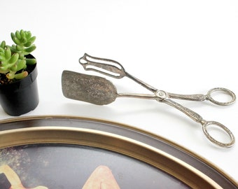 Silver Plated Salad Tongs, Vintage Servingware