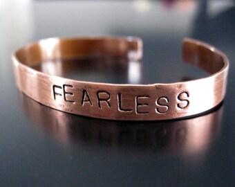 FEARLESS .... Handcut, handstamped copper cuff bracelet