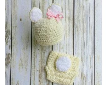 Baby Girl Deer Outfit - Crochet Doe Set - Deer Hat - Baby animal hat - newborn photo prop - character hat - crochet baby outfit - Costume