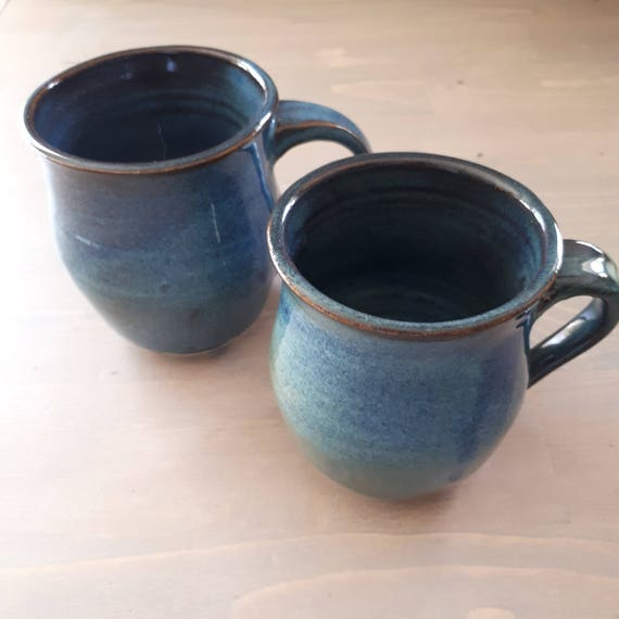 Pottery mugs dark misty blue pair of cups perfect for coffee or tea drinkware kitchen decor  soft blue and brown like a day at the beach