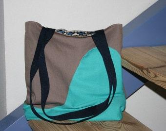 100% Handmade CANVAS BAG, Shoulder Bag, Large Bag, Two Color Bag,Handmade Bag, Handmade Gift,