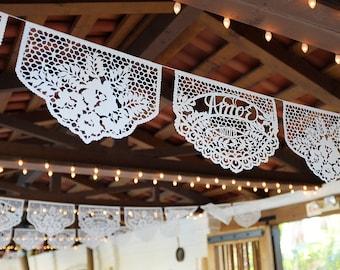 Papel Picado Banners - custom color, personalized date wedding reception decor - FAMILIA FLORES