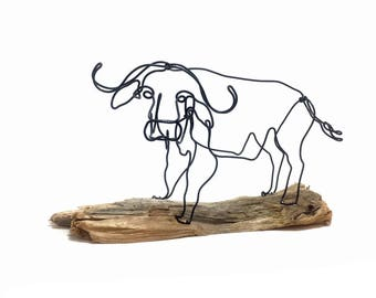 African Cape Buffalo Wire Sculpture, Water Buffalo Wire Art, Buffalo Art, 569572892