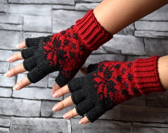 Womens half finger wool gloves, spring gloves for texting, hand knit red and dark gray gloves with colorwork, Made to order