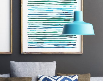 Large Abstract Painting, Modern Art, Abstract Print, Line Art, Fine Art Print, Abstract Art Print, Blue Green Wall Art, Extra Large Wall Art