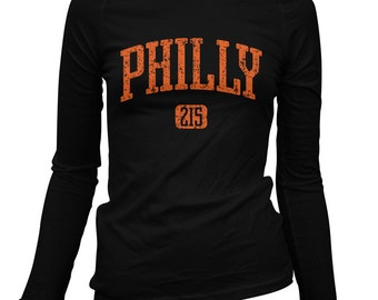 Women's Philly 215 Long Sleeve Tee - LS Ladies T-shirt - S M L XL 2x - Philadelphia Shirt - 3 Colors