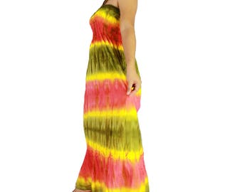 Smocked off shoulder dress tie dye cotton  boho smock tube dress maxi summer sundress comfy beach casual dress long skirt (TD 120)