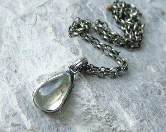 Aquamarine pendant, raw silver pendant, silver necklace, heart, natural gemstone