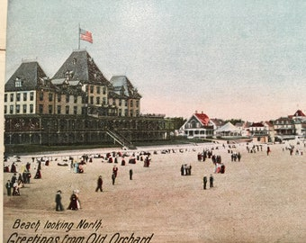 Vintage Postcard Maine Old Orchard Beach ME Greetings from Old Orchard Beach looking North Mint early 1900's
