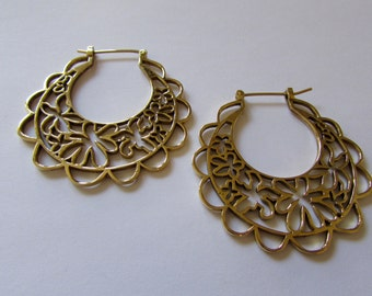 Big FlAt Hoop Earrings Floral Design, handmade, Brass, Tribal Earrings , Gypsy Inspired Earrings, Gift boxed, Free UK post BR7