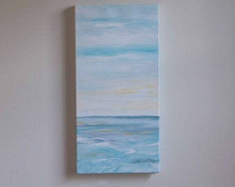 Ocean painting, beach art, summer painting, water painting, acrylic painting, sky art, blue art, nautical painting, 10x20 canvas painting