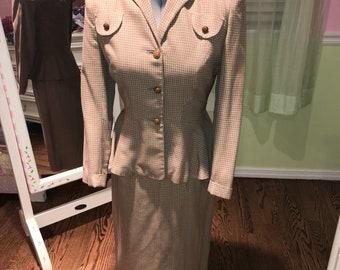 Vintage 50s military style custom skirt suit