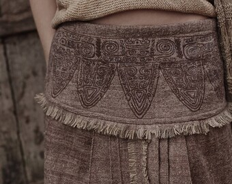 Handwoven Wool Lotus Skirt with Antique Embroidery