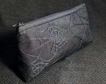 Spider Web Lace Zippered Pouch / Small Makeup Bag / Pencil Case / Bag Organizer / Goth Accessory / Elegant Gothic Lolita
