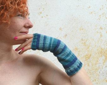 Long knit fingerless gloves, wool mittens,striped blue arm warmers