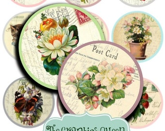 80% Off Spring Sale INSTANT DOWNLOAD Shabby Chic Vintage Flowers Images for 2.25 inch Pocket Mirrors, Scrapbooking, Buttons Cupcake Toppers