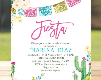 Fiesta bridal shower etsy fiesta bridal shower invitation mexican bridal brunch invitation floral cactus brunch with the bride filmwisefo