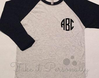 Monogram Baseball Tee - Monogrammed Raglan - Monogram Tee - Personalized Shirt - Pocket Monogram
