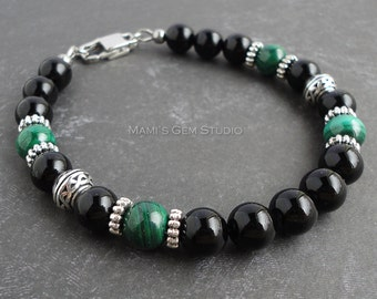 Genuine Green Malachite & Black Onyx Gemstone Men's Bracelet, Handcrafted High Quality Jewelry for Men, Dad, Husband, Him