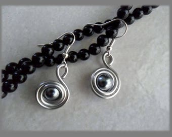 Licorice aluminium silver Pearl Earrings silver costume jewelry