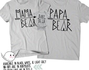 Papa Bear Mama Bear Baby Bear matching t shirts, Fathers day, Mothers day, baby shower, birthday gift