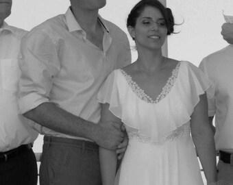 Chiffon Wedding Dress Boho Wedding Dress Vintage Wedding Dress Lace Bohemian Wedding Paulastudio Wedding Dress 70s Wedding Dress
