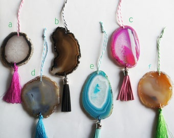 AGATE ORNAMENT Crystal Geode Slices, Leather or Silk Tassels with Decorative Twine Holiday Christmas Tree Decoration Gift Present Wine Charm