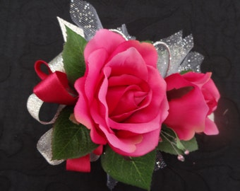 2 Piece wrist corsage and boutonniere in hot pink roses