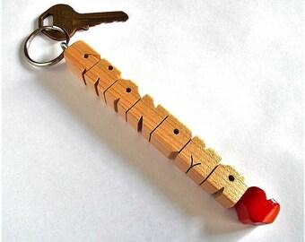 GRANDMA - Sample Name Keychain in Maple Wood