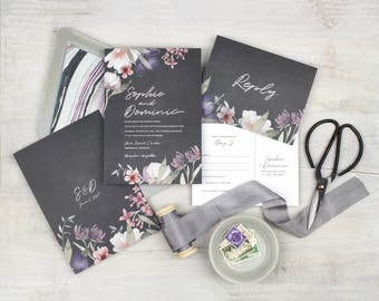 moody wedding invitation boho wedding invitation dusty purple wedding invitation set floral wedding invitations mauve floral invite