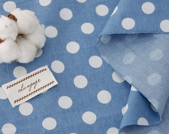 Cute Dots on Denim fabric, Cotton 100% , by Yard, 145cm Width