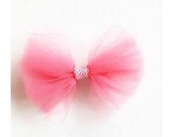 Flamingo pink tulle bow on headband or clip