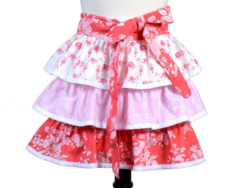 Womens Flirty Retro Half Apron in Ruffles of Very Pretty Soft Red with Pink Three Layer Skirt Completely Lined