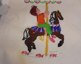 Crewel embroidery- Carousel Horse