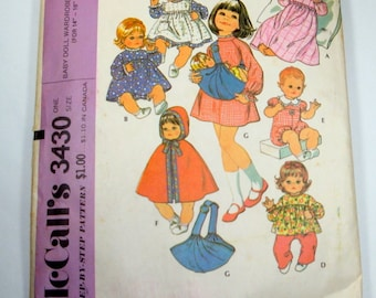 Doll Clothes Pattern, Baby Doll Wardrobe and Carrier, McCall's Pattern 3430, Complete Sewing Pattern, Cape, Uncut, Doll Carrier  (13-14)
