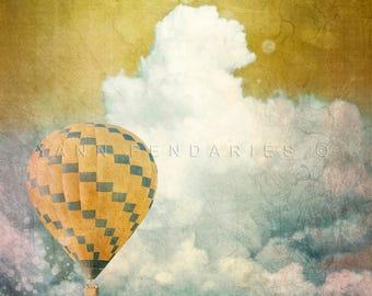 Clouds Print, Travel decor, modern decor, hot air balloon, air balloon decor, air balloon print, balloon print, travel prints, balloon
