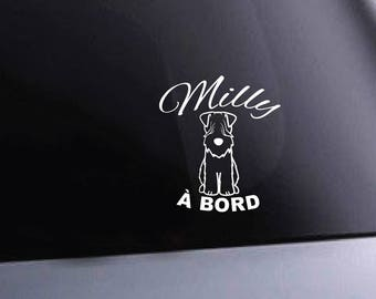 Vinyl car decal. dog on board. personalized name dog and breed