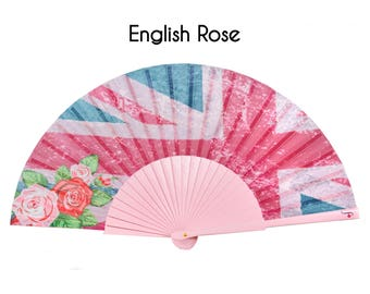 SALE: HAND FAN | Union Jack pink grunge print | Great Britain flag | womens fashion | unique gift for her | Free Shipping Worldwide