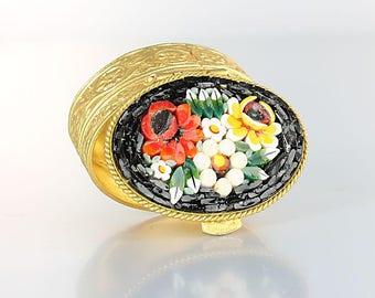 Flower Pill Box, Micromosaic Italy Rose Daisy Trinket Box vintage Ring holder